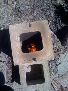 View down into Rocket Stove